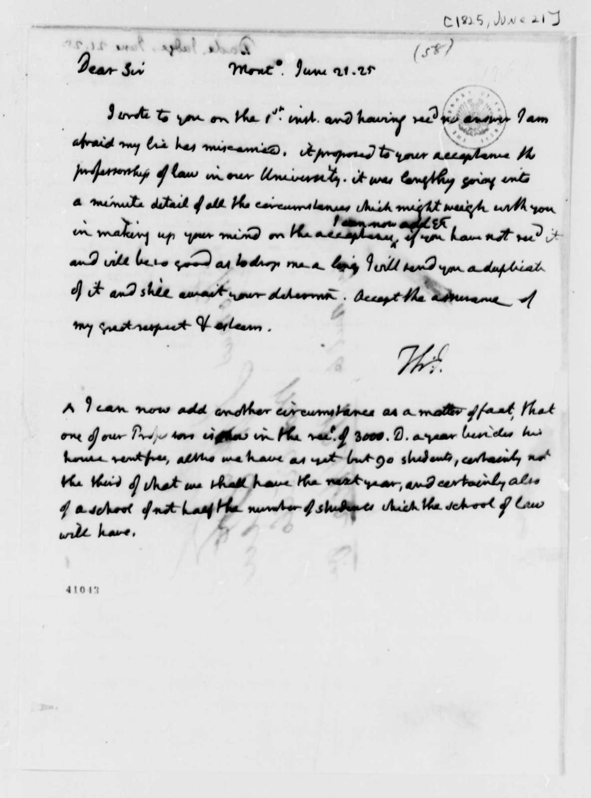 Thomas Jefferson to William A. G. Dade, June 21, 1825