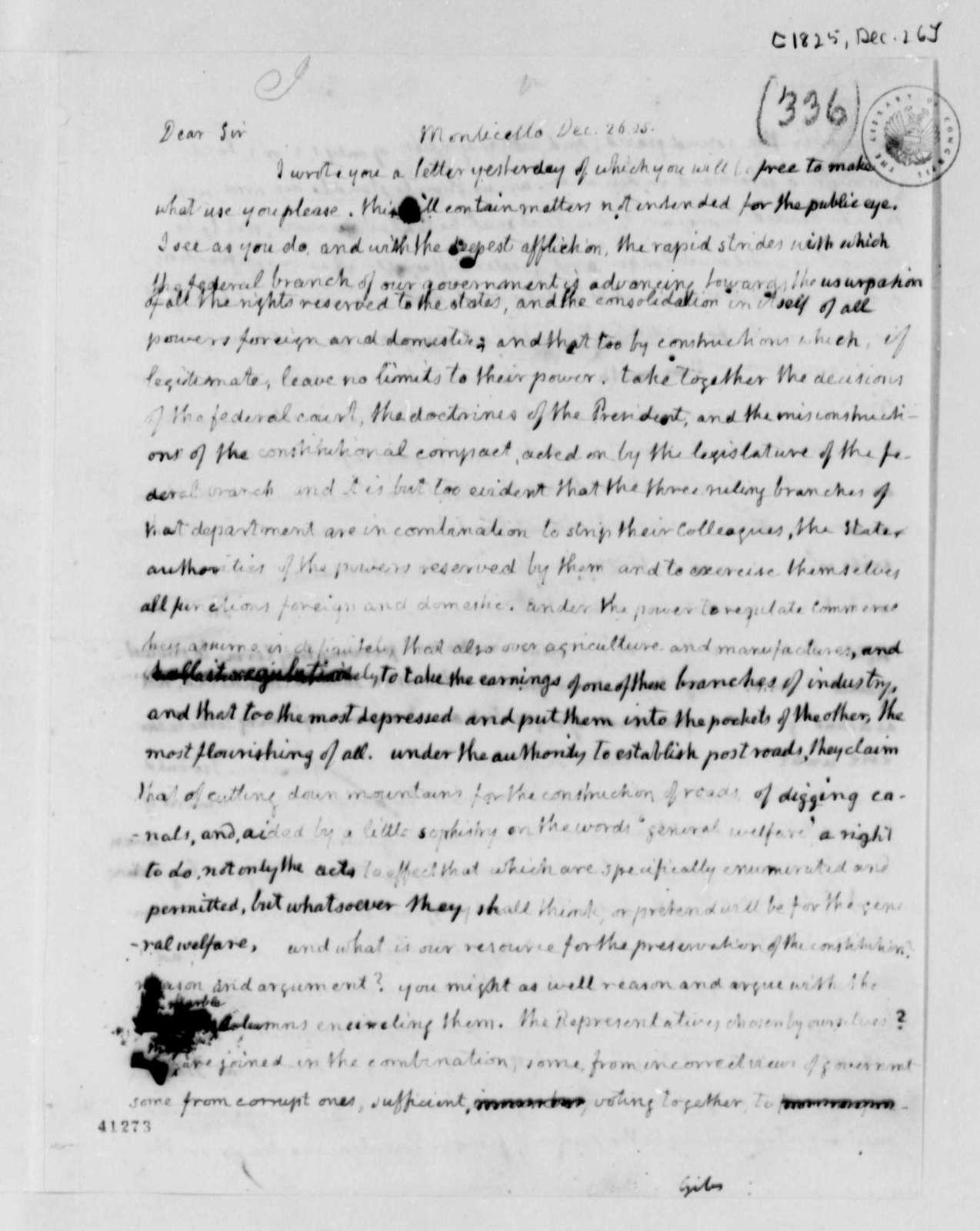 Thomas Jefferson to William B. Giles, December 26, 1825