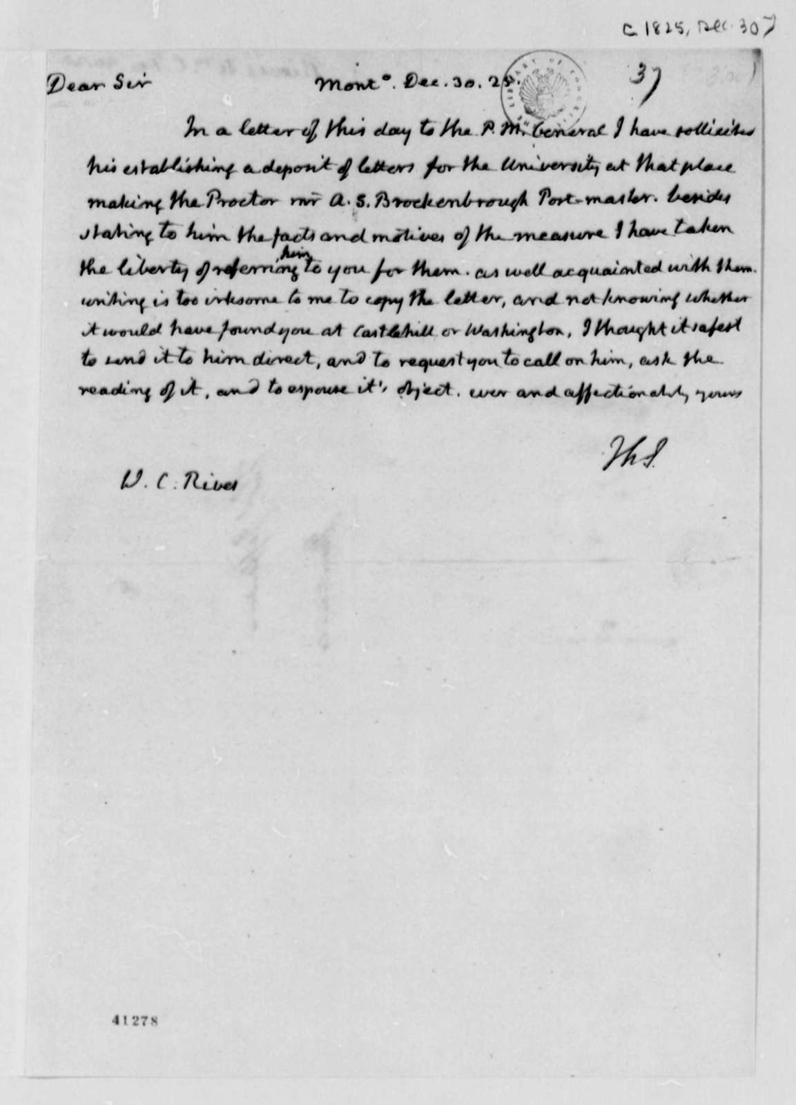 Thomas Jefferson to William Cabell Rives, December 30, 1825