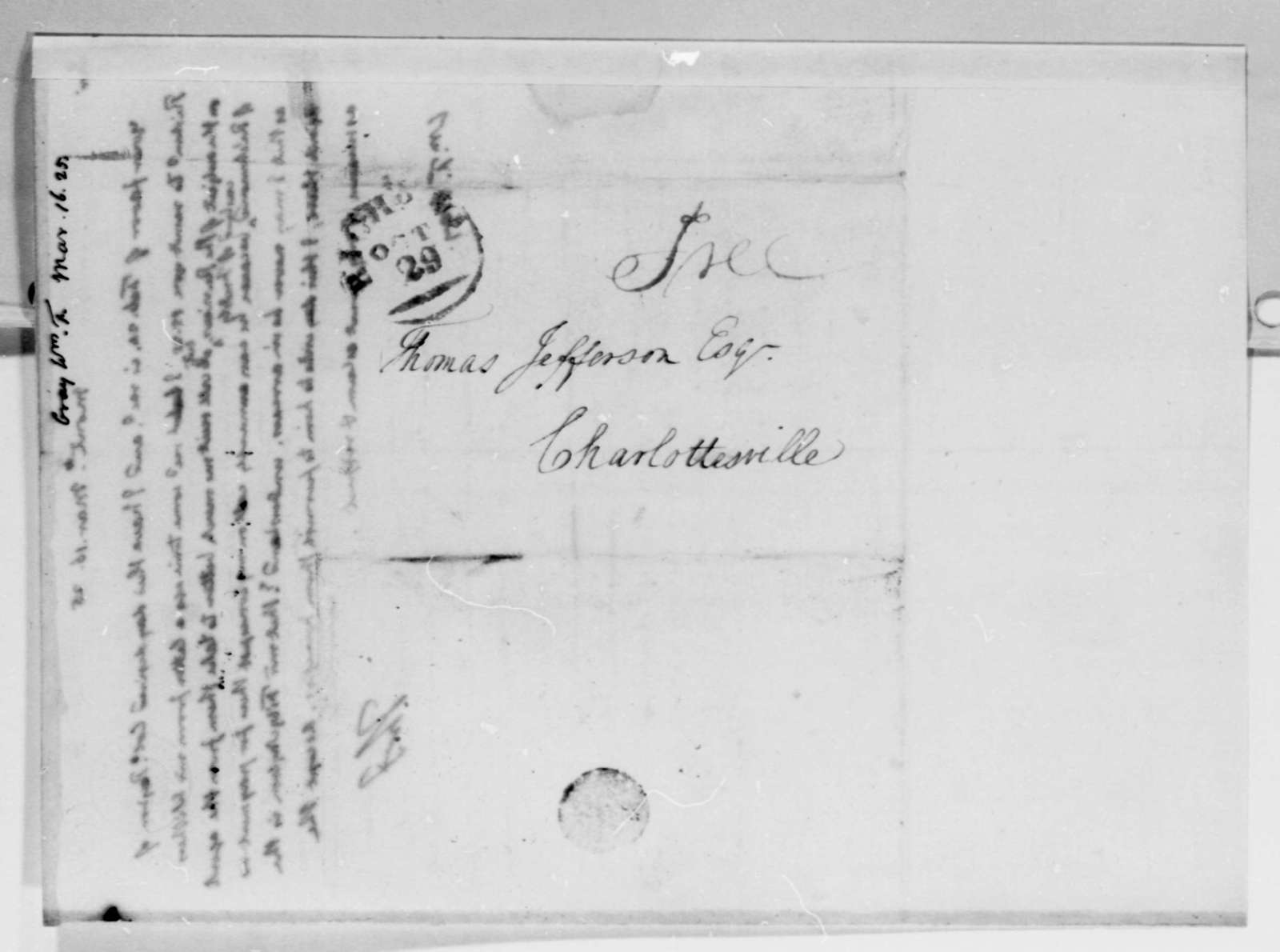 Thomas Jefferson to William F. Gray, March 16, 1825