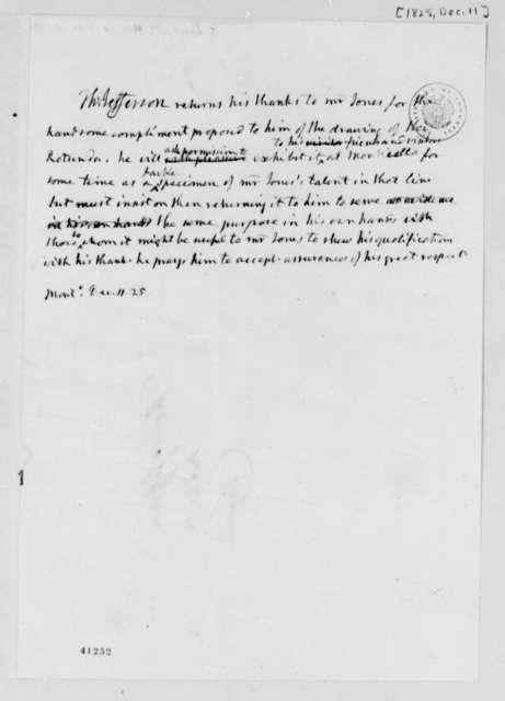 Thomas Jefferson to William Harris Jones, December 11, 1825