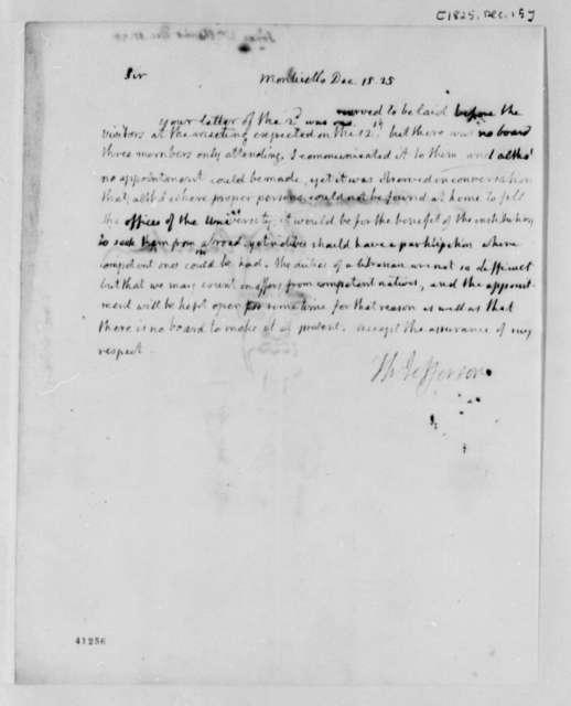 Thomas Jefferson to William Harris Jones, December 15, 1825