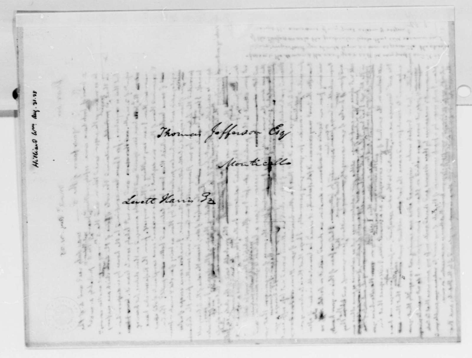 Thomas Jefferson to William Hilliard, August 31, 1825