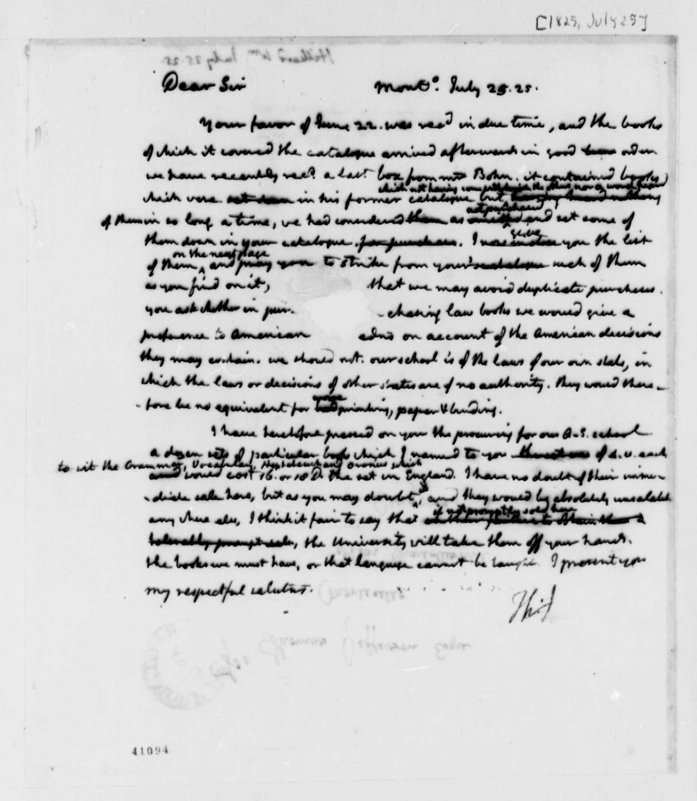 Thomas Jefferson to William Hilliard, July 25, 1825