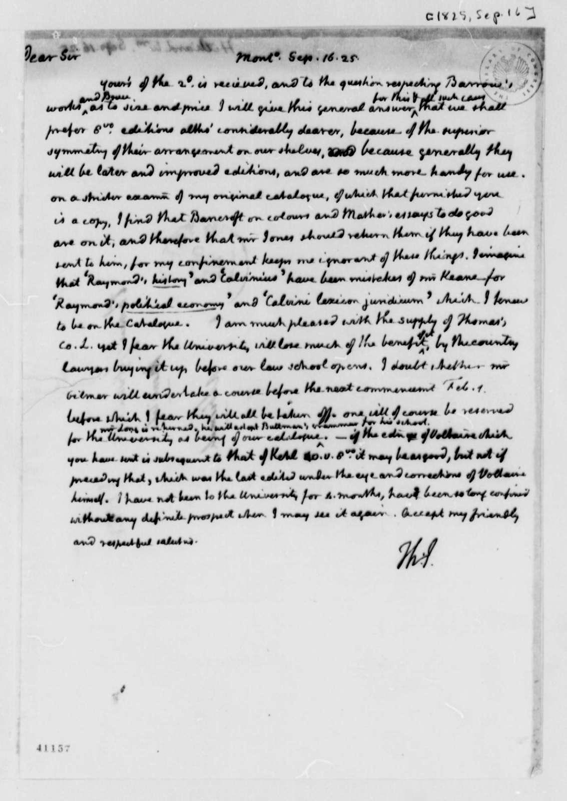 Thomas Jefferson to William Hilliard, September 16, 1825