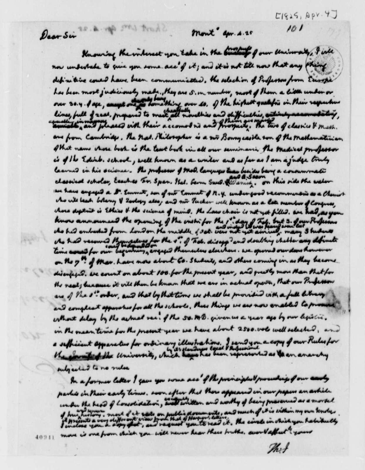 Thomas Jefferson to William Short, April 4, 1825