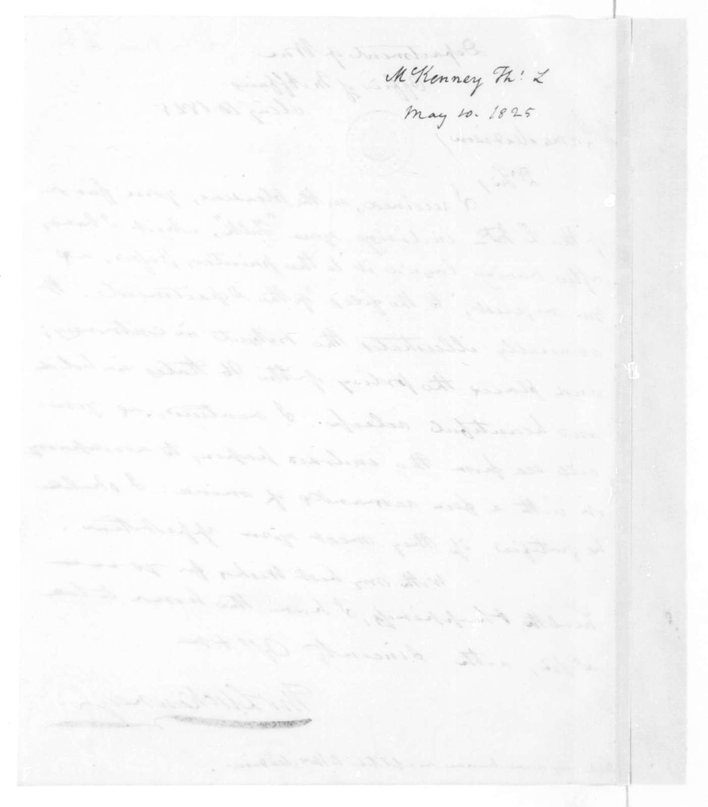 Thomas L. McKenney to James Madison, May 10, 1825.