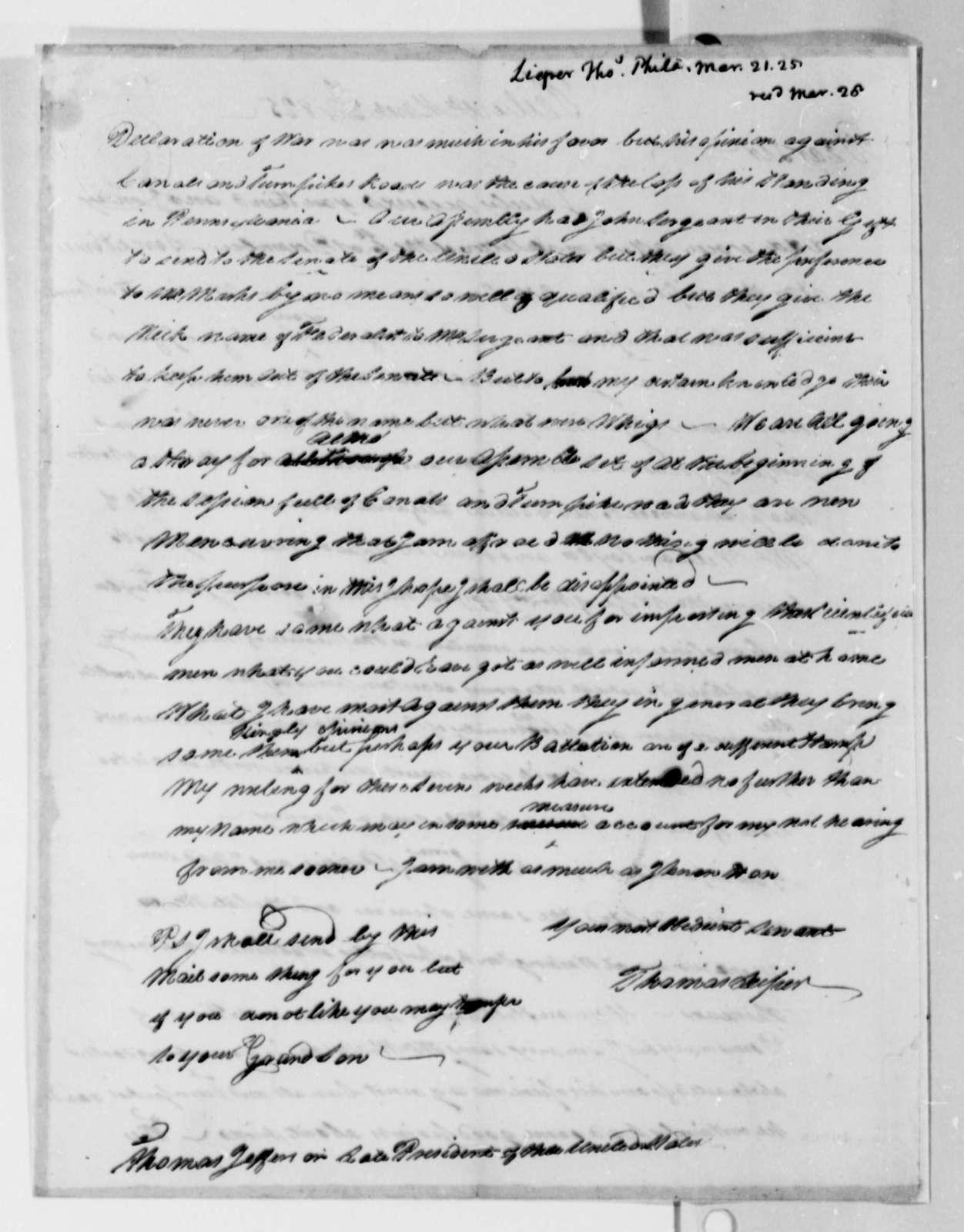 Thomas Leiper to Thomas Jefferson, March 21, 1825