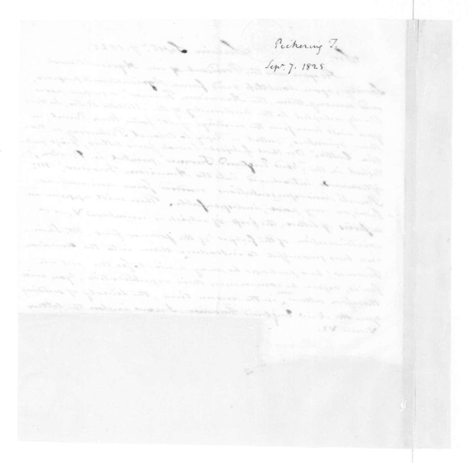 Timothy Pickering to James Madison, September 7, 1825.