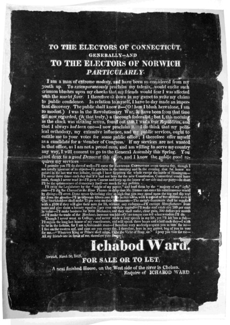 To the electors of Connecticut, generally -- and To the electors of Norwich particularly ... Ichabod Ward. Norwich, March 30, 1825.