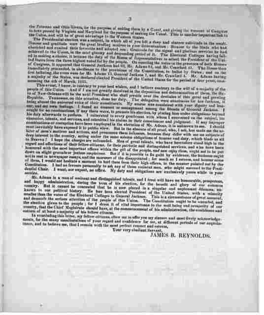 To the free and independent citizens of the 8th Congressional District in the state of Tennessee. Washington, February 26th 1825.