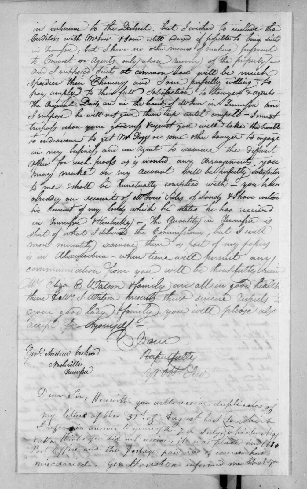 Unknown to Andrew Jackson, August 31, 1825