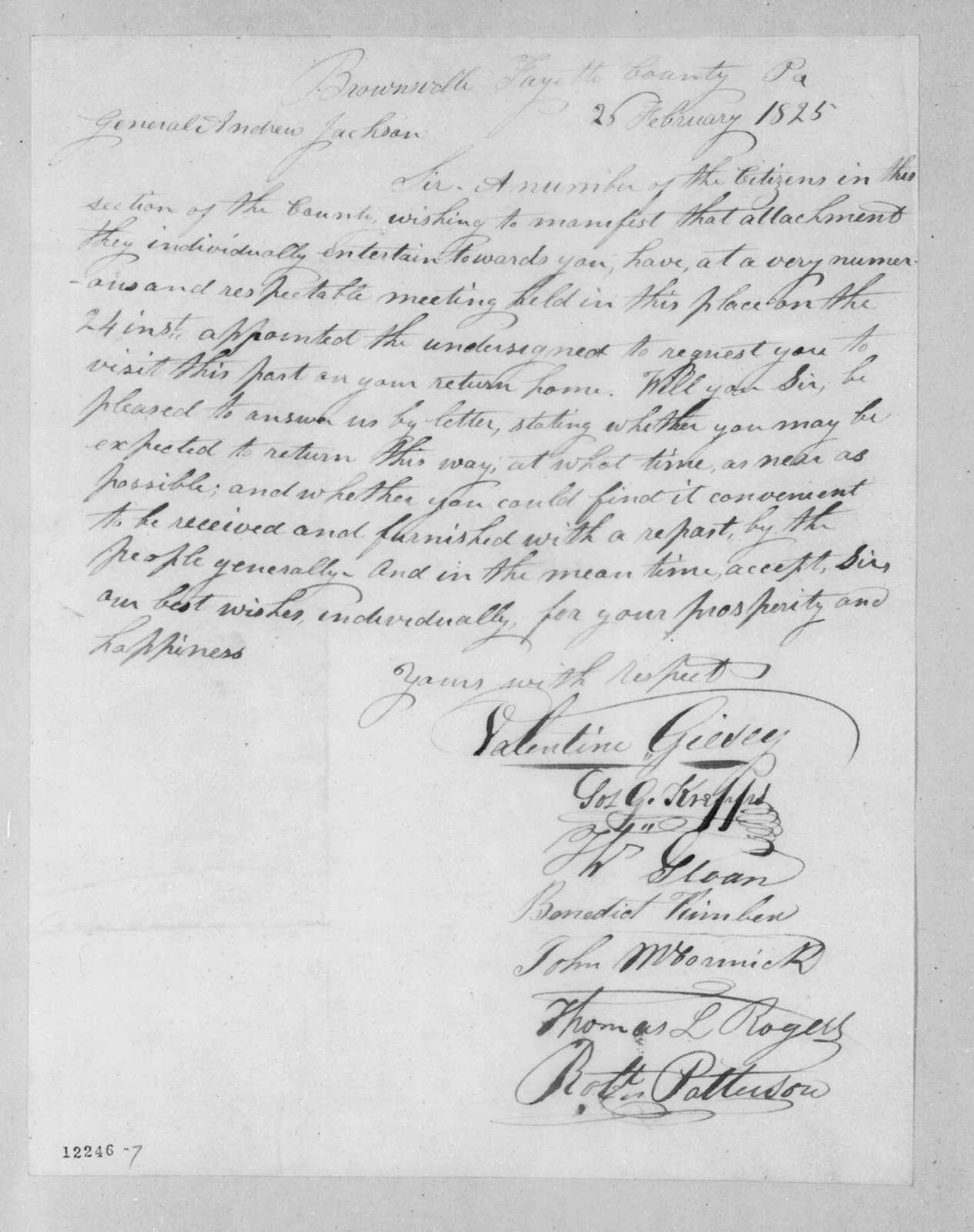 Valentine Giesey et al. to Andrew Jackson, February 26, 1825
