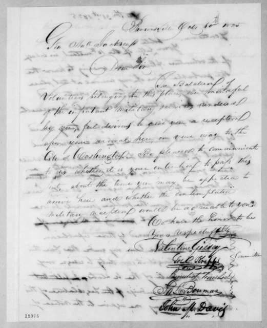 Valentine Giesey to Andrew Jackson, October 10, 1825