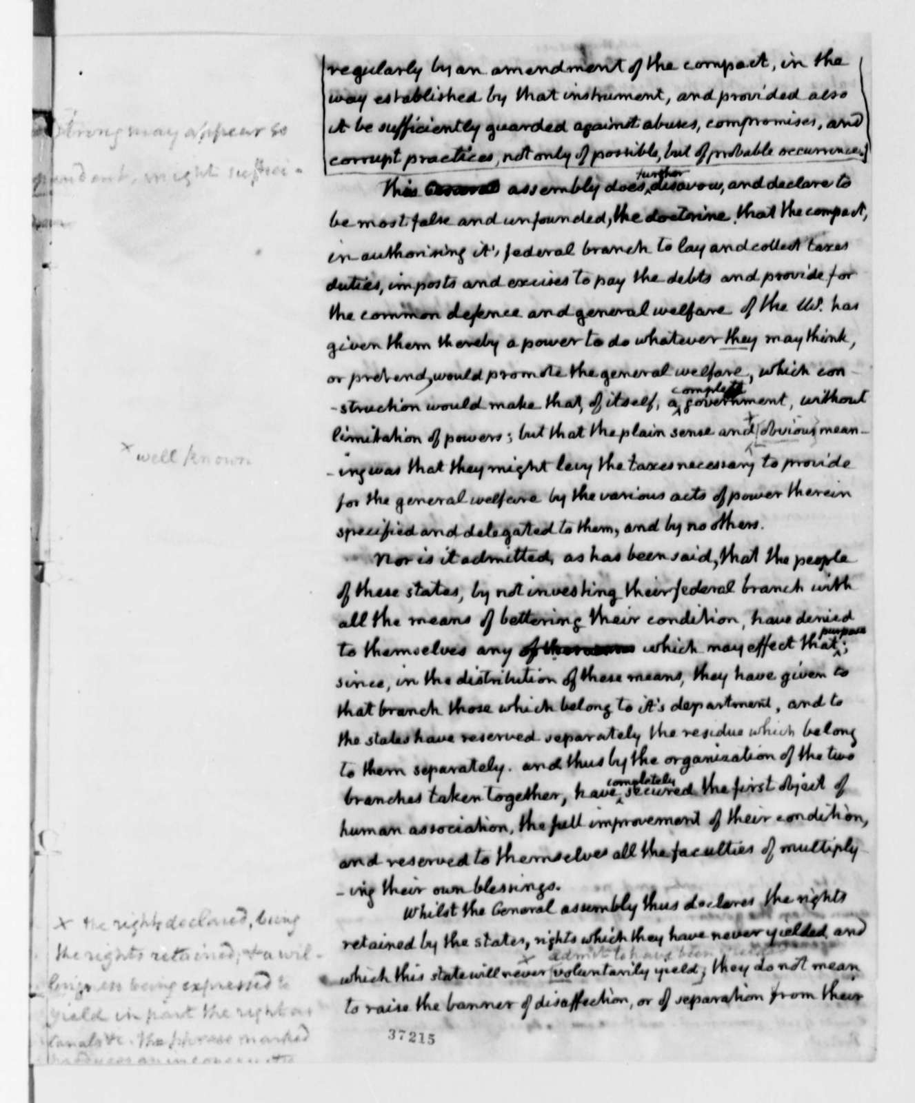 Virginia General Assembly, 1825, Declaration and Protest of U. S. Constitution, in Thomas Jefferson's Hand