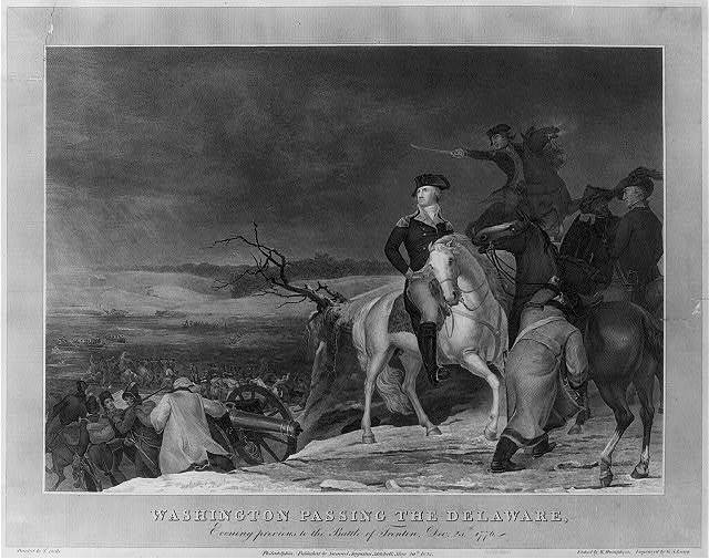 Washington passing the Delaware, evening previous to the Battle of Trenton, Dec. 25th, 1776 / / painted by T. Sully ; etched by W. Humphrys ; engraved by G.S. Lang.
