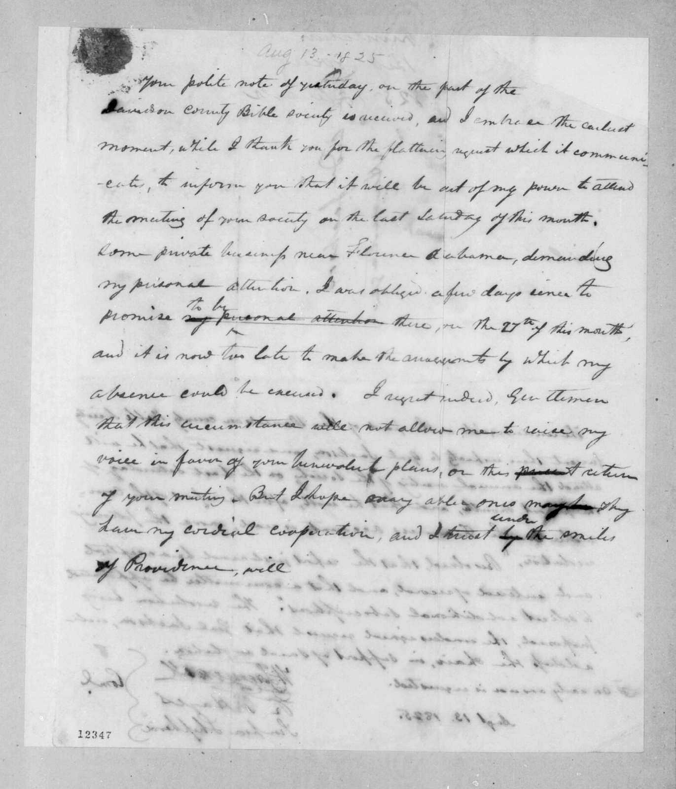 Wilkins Tannehill et al. to Andrew Jackson, August 13, 1825