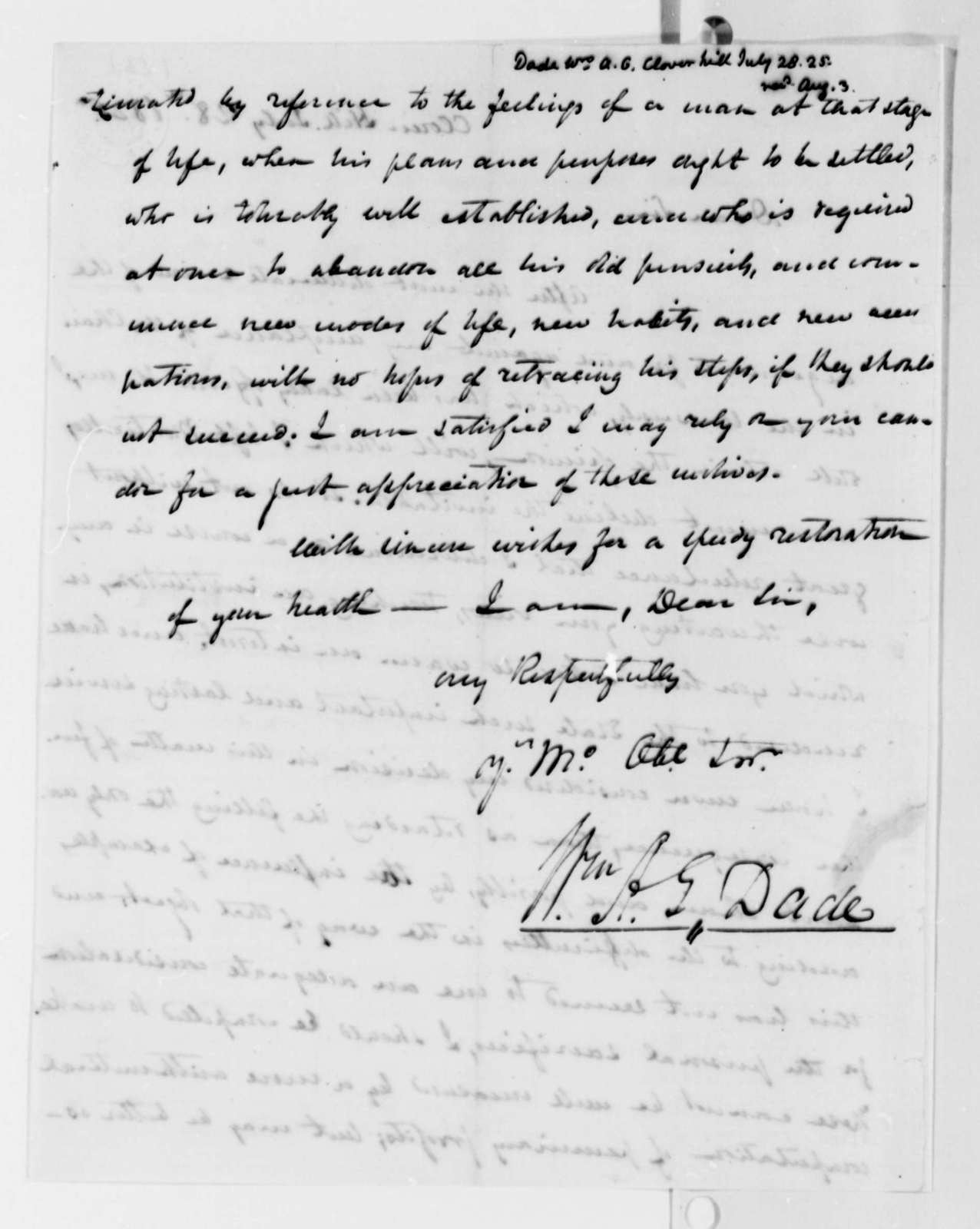 William A. G. Dade to Thomas Jefferson, July 28, 1825