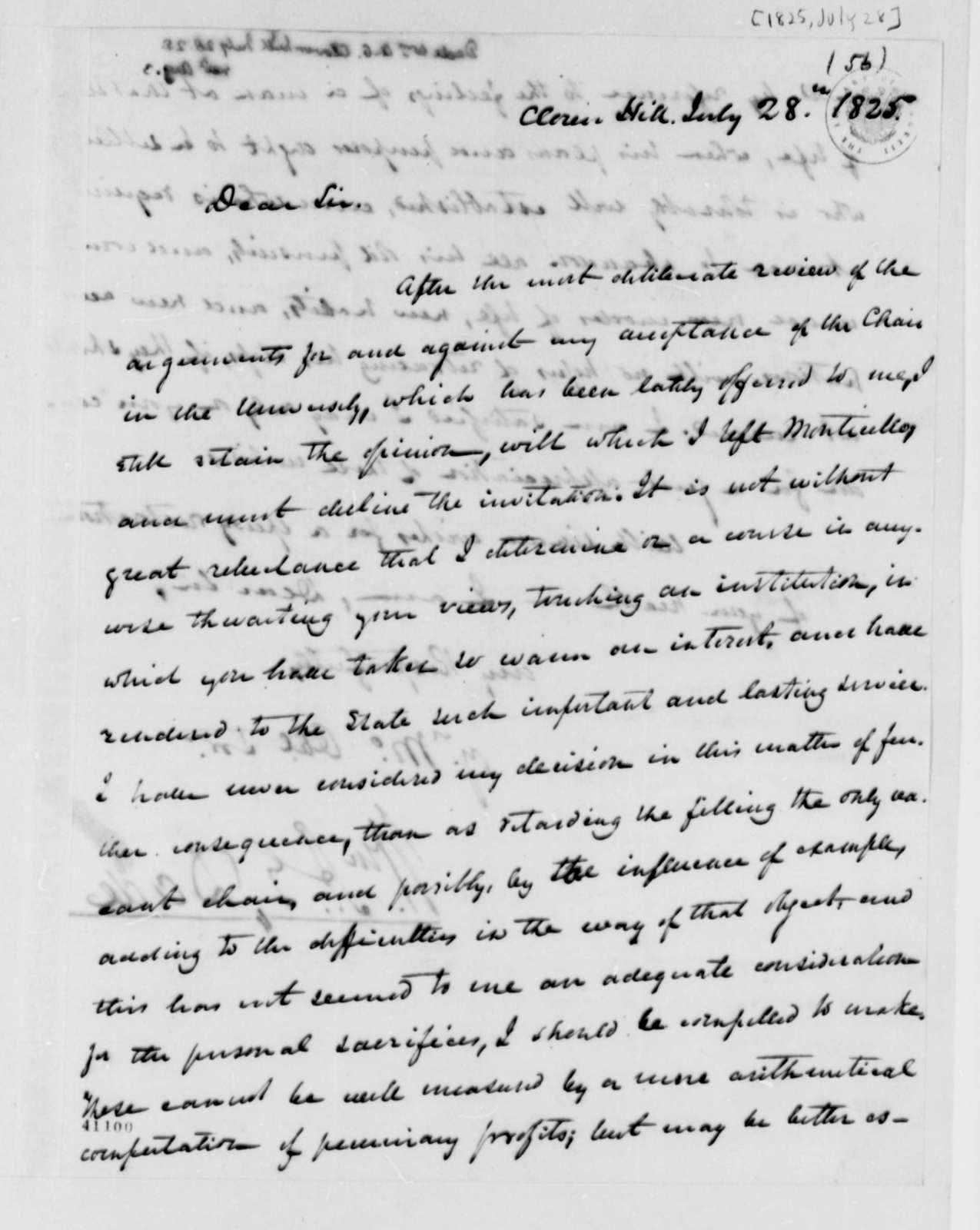 William A. G. Dade to Thomas Jefferson, July 28, 1825