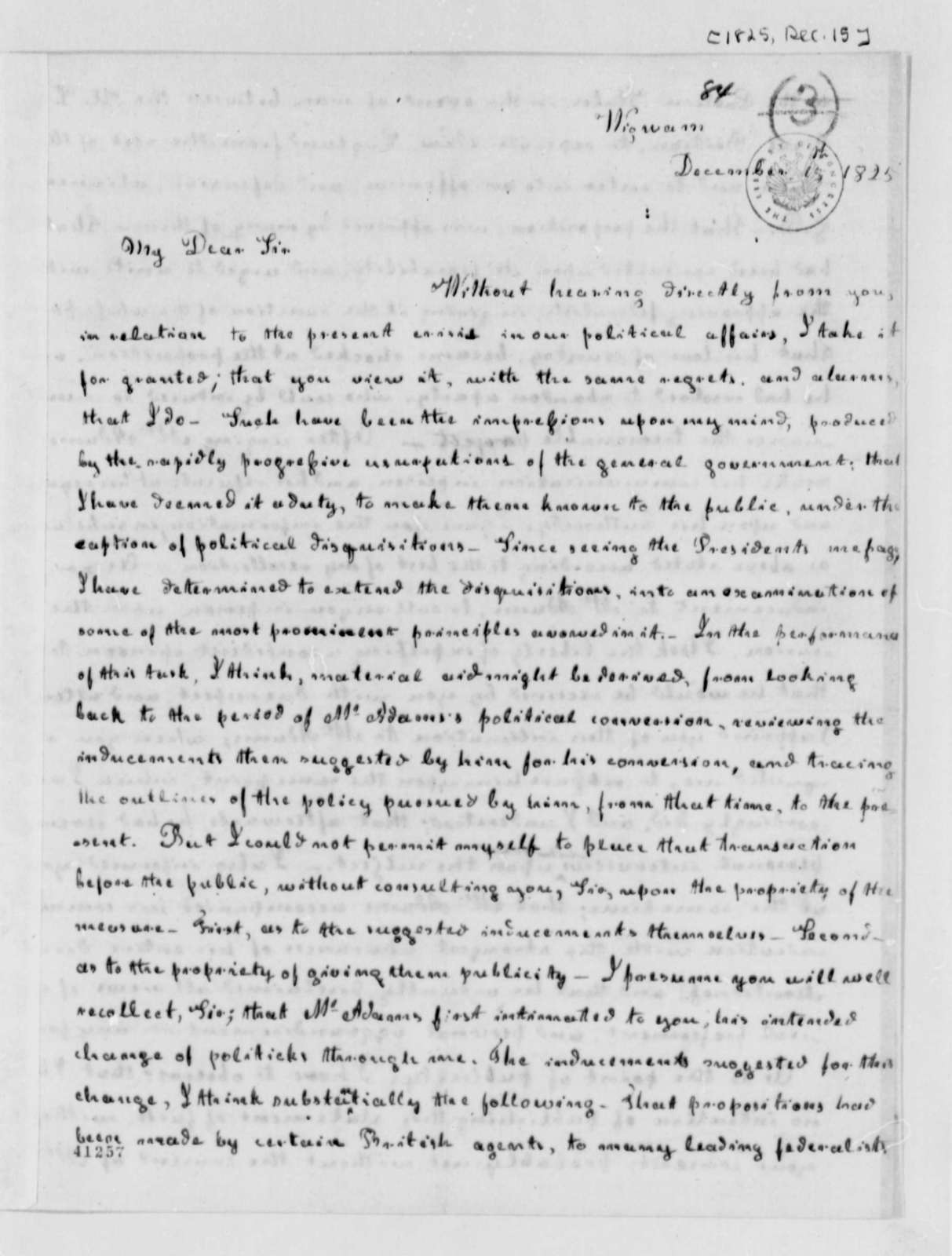 William B. Giles to Thomas Jefferson, December 15, 1825, Two of Same Date