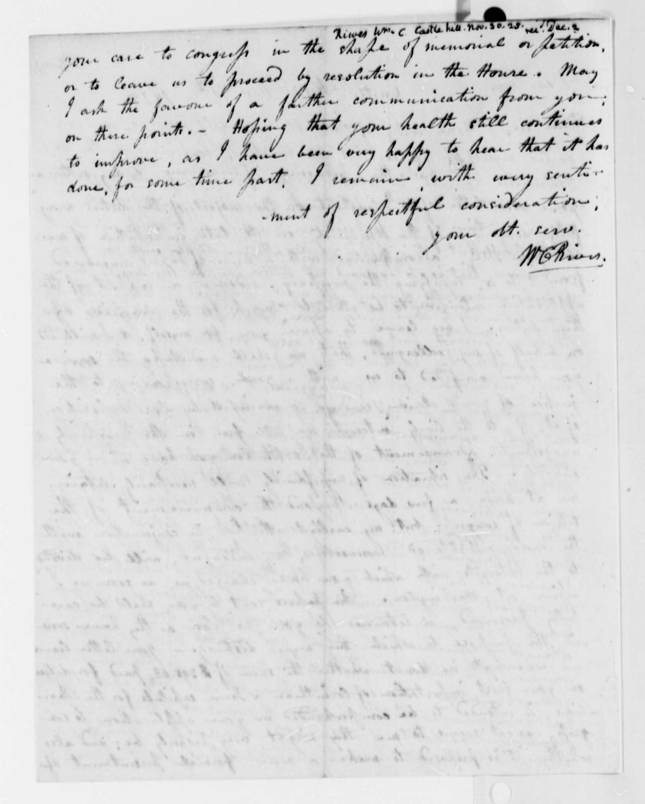 William Cabell Rives to Thomas Jefferson, November 30, 1825