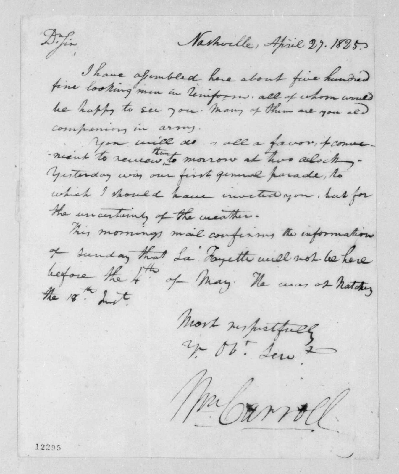 William Carroll to Andrew Jackson, April 27, 1825