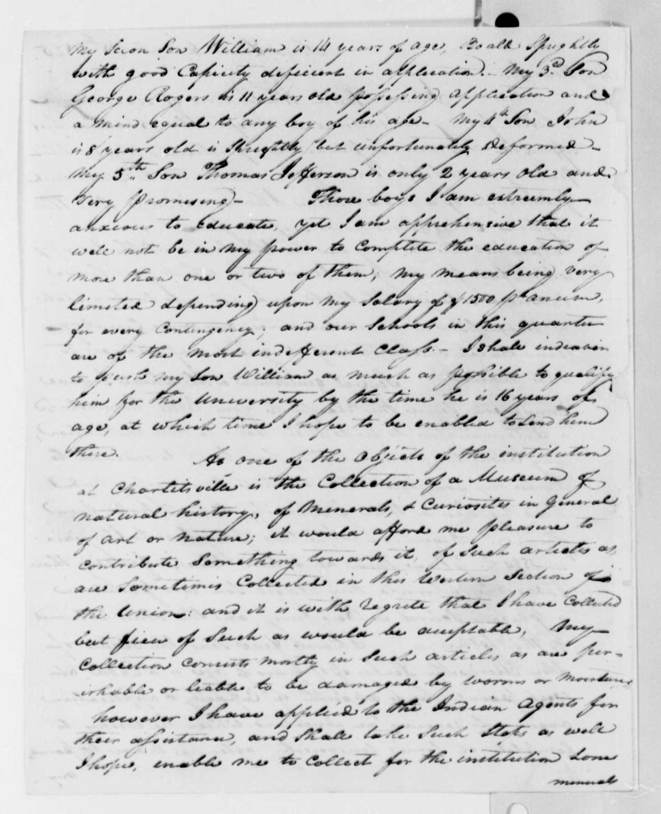 William Clark to Thomas Jefferson, December 15, 1825