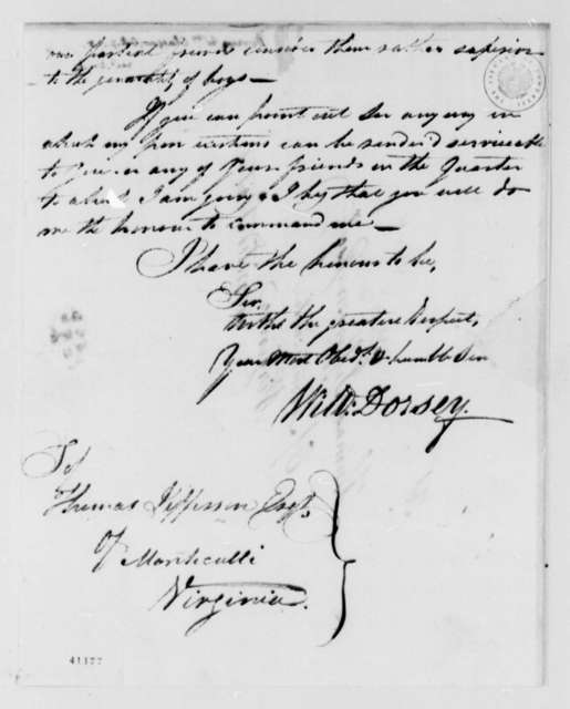 William Dorsey to Thomas Jefferson, October 7, 1825