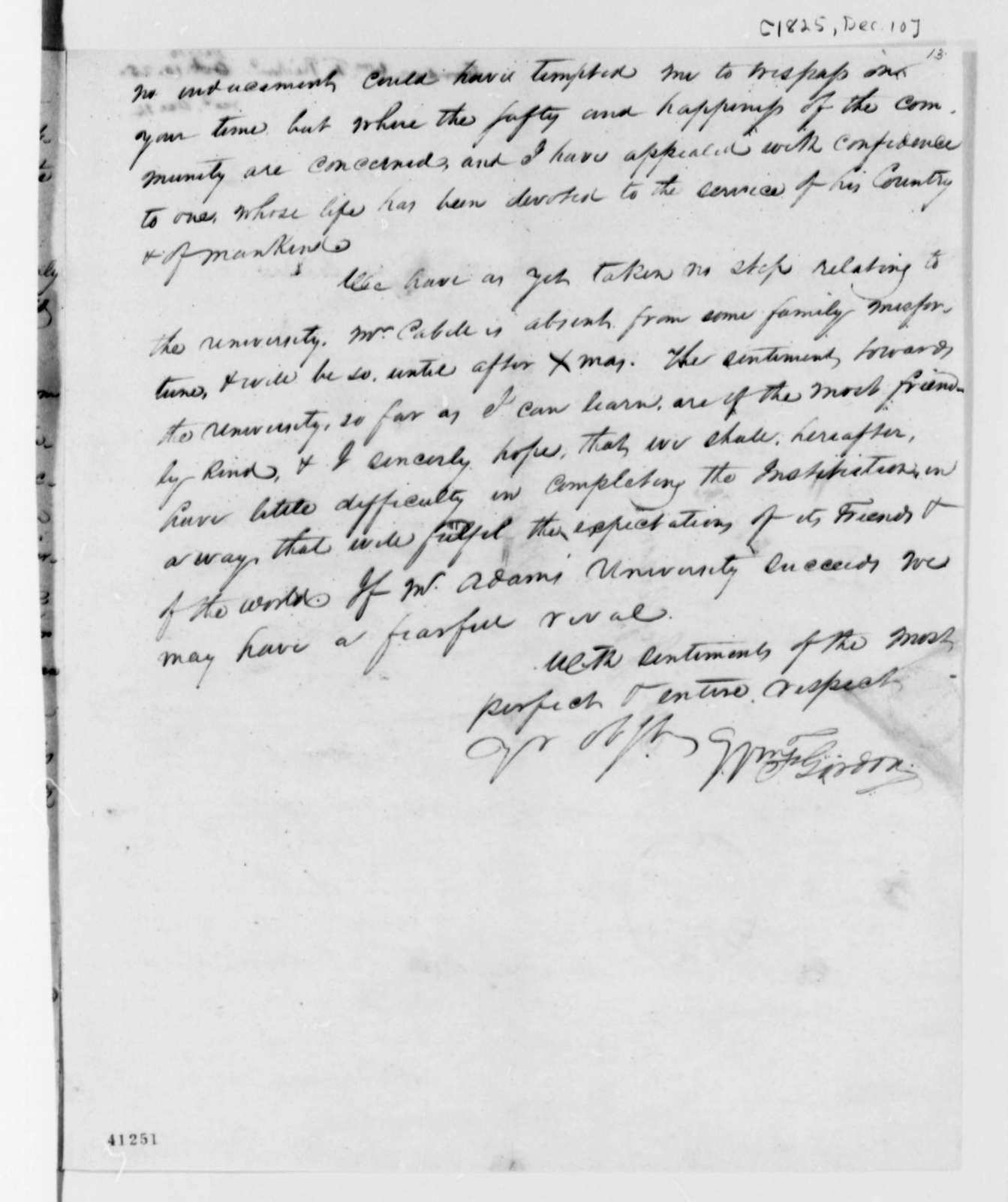 William F. Gordon to Thomas Jefferson, December 10, 1825