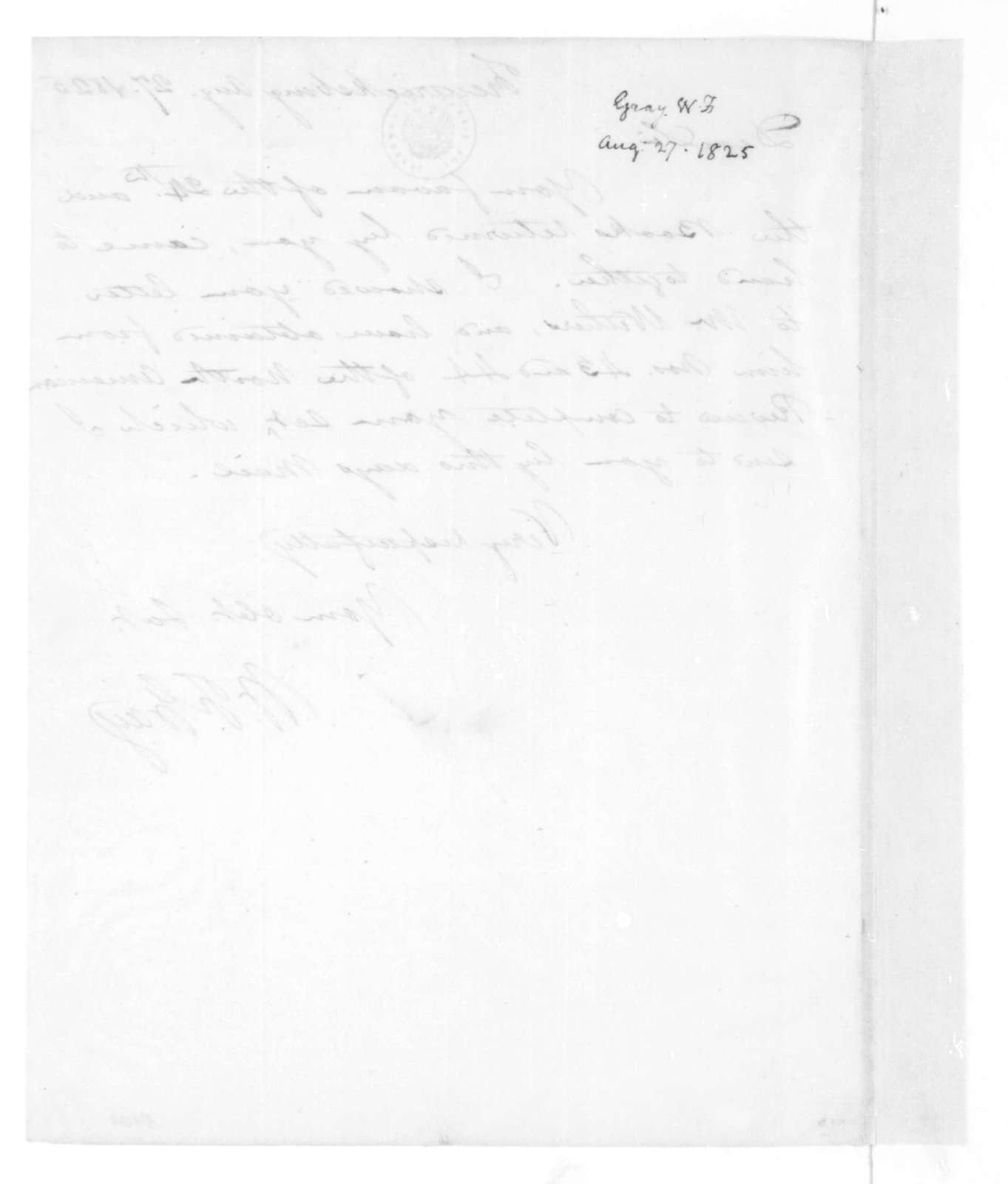 William F. Gray to James Madison, August 27, 1825.
