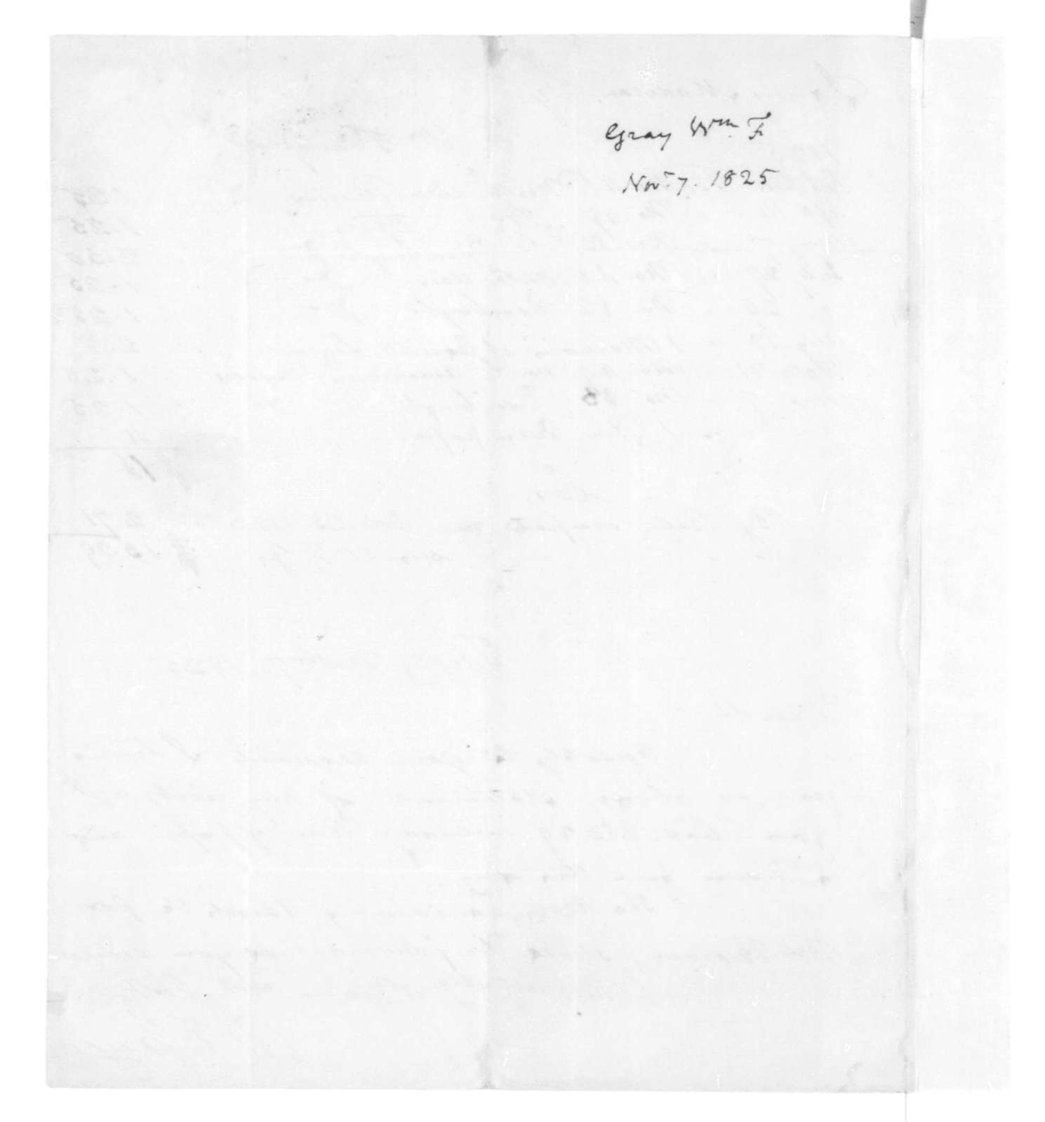 William F. Gray to James Madison, November 7, 1825. With Account.