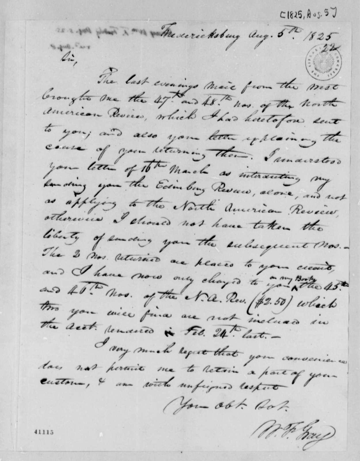 William F. Gray to Thomas Jefferson, August 5, 1825