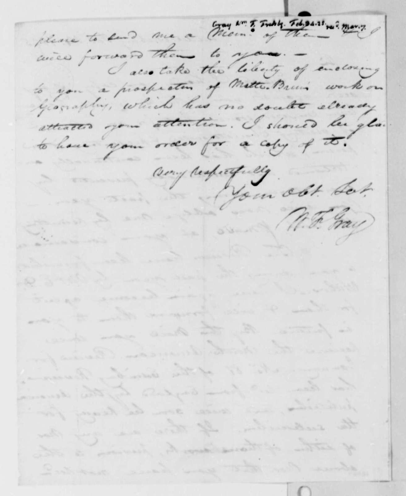 William F. Gray to Thomas Jefferson, February 24, 1825