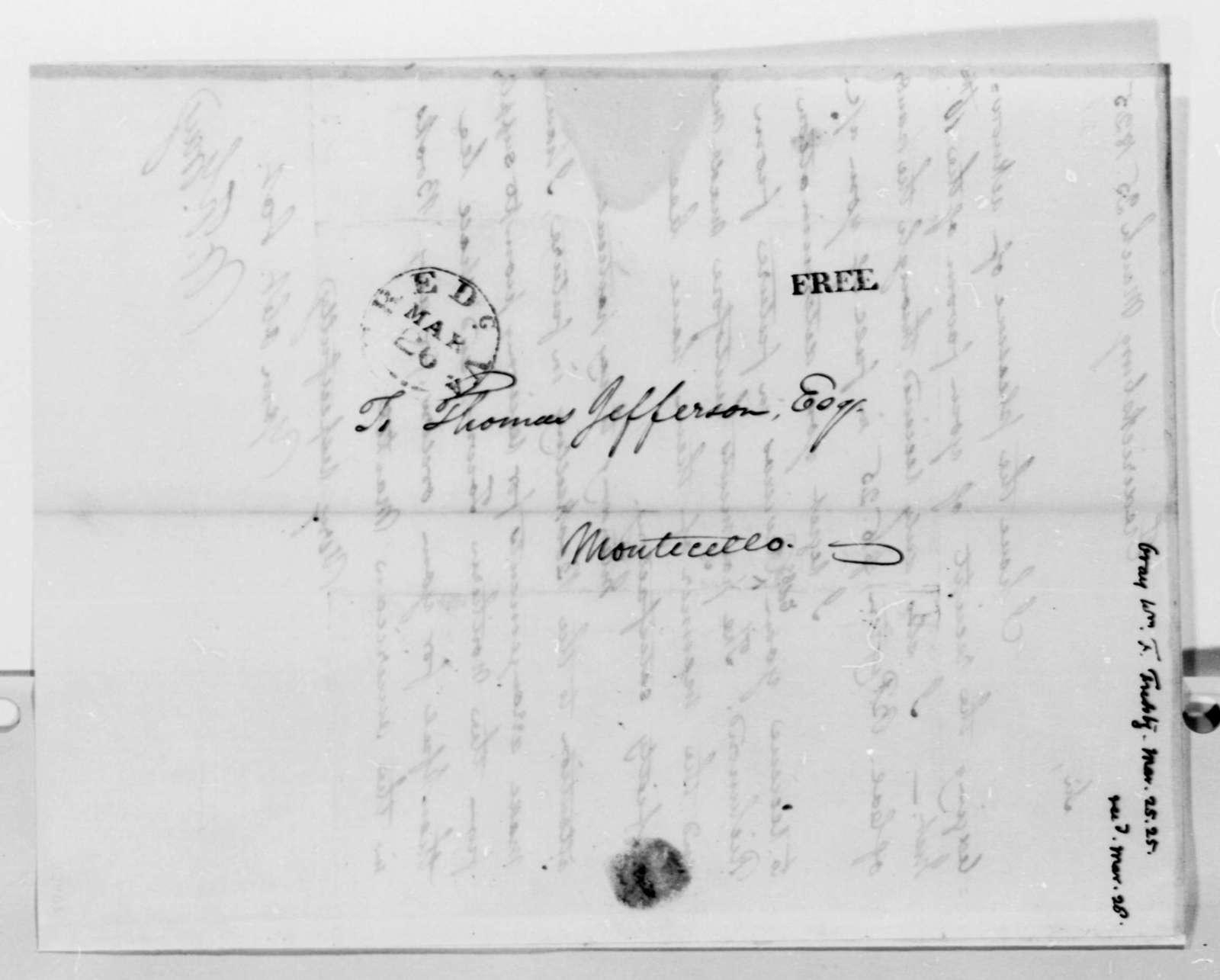 William F. Gray to Thomas Jefferson, March 25, 1825