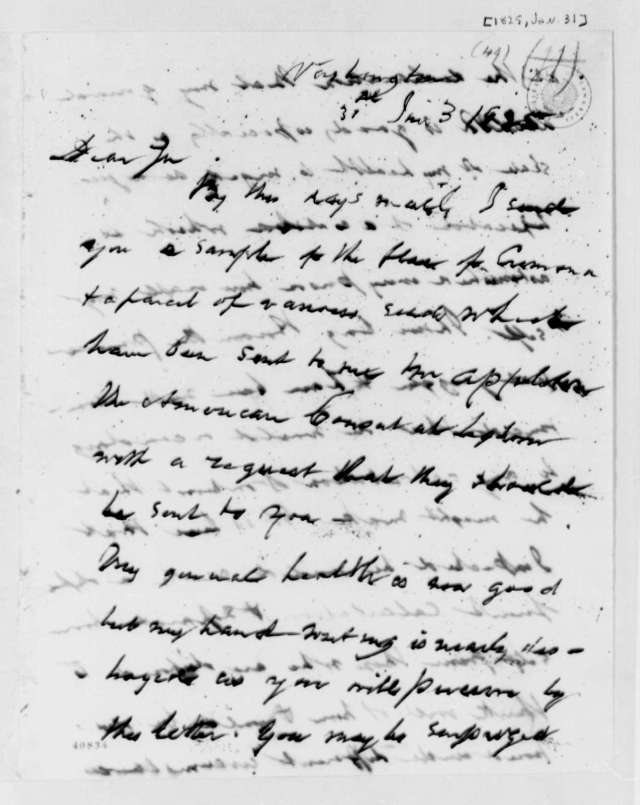 William H. Crawford to Thomas Jefferson, January 31, 1825