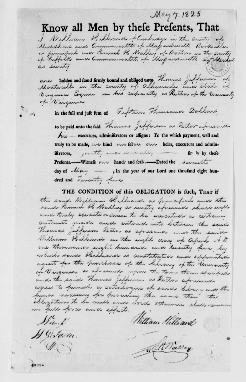 William Hillard and Samuel H. Walley to Thomas Jefferson, May 7, 1825, Bond