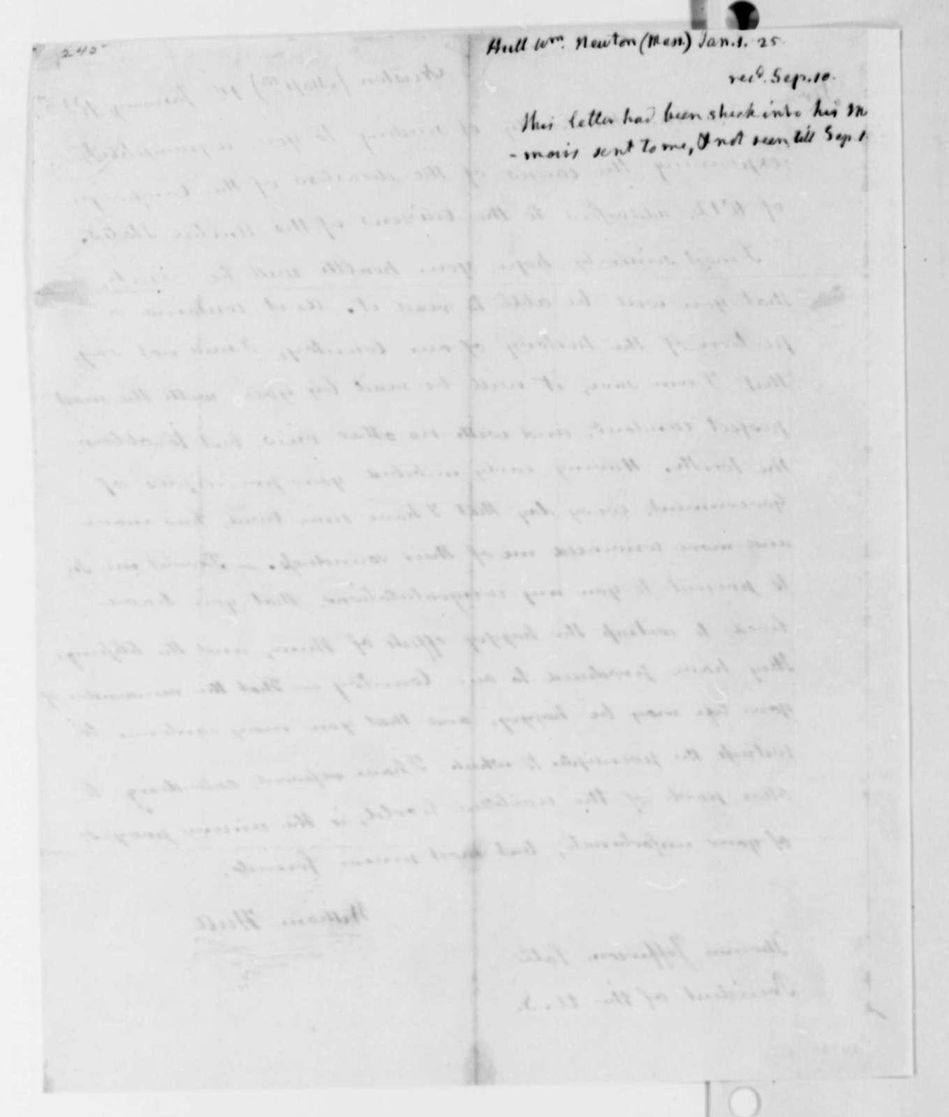 William Hull to Thomas Jefferson, January 1, 1825