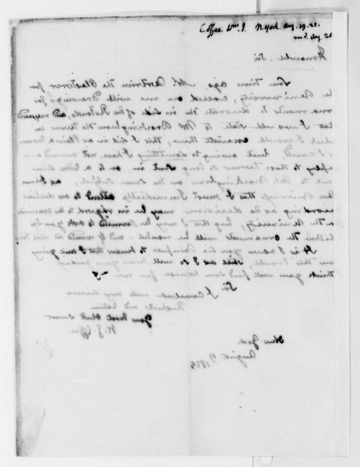 William J. Coffee to Thomas Jefferson, August 19, 1825