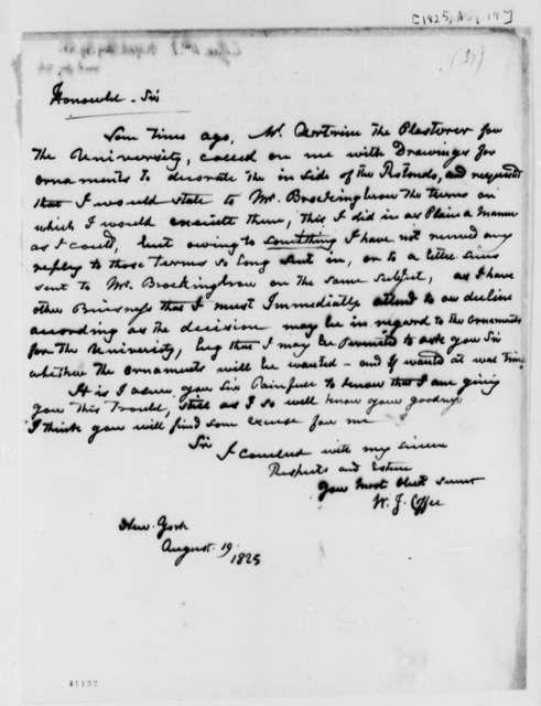 William J. Coffee to Thomas Jefferson, August 19, 1825
