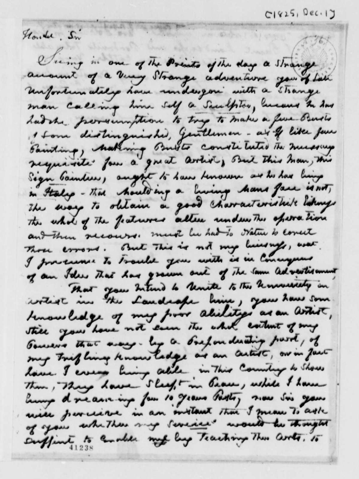 William J. Coffee to Thomas Jefferson, December 1, 1825