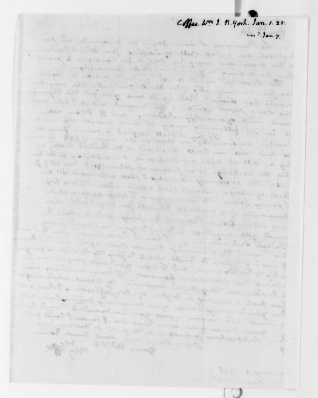William J. Coffee to Thomas Jefferson, January 1, 1825