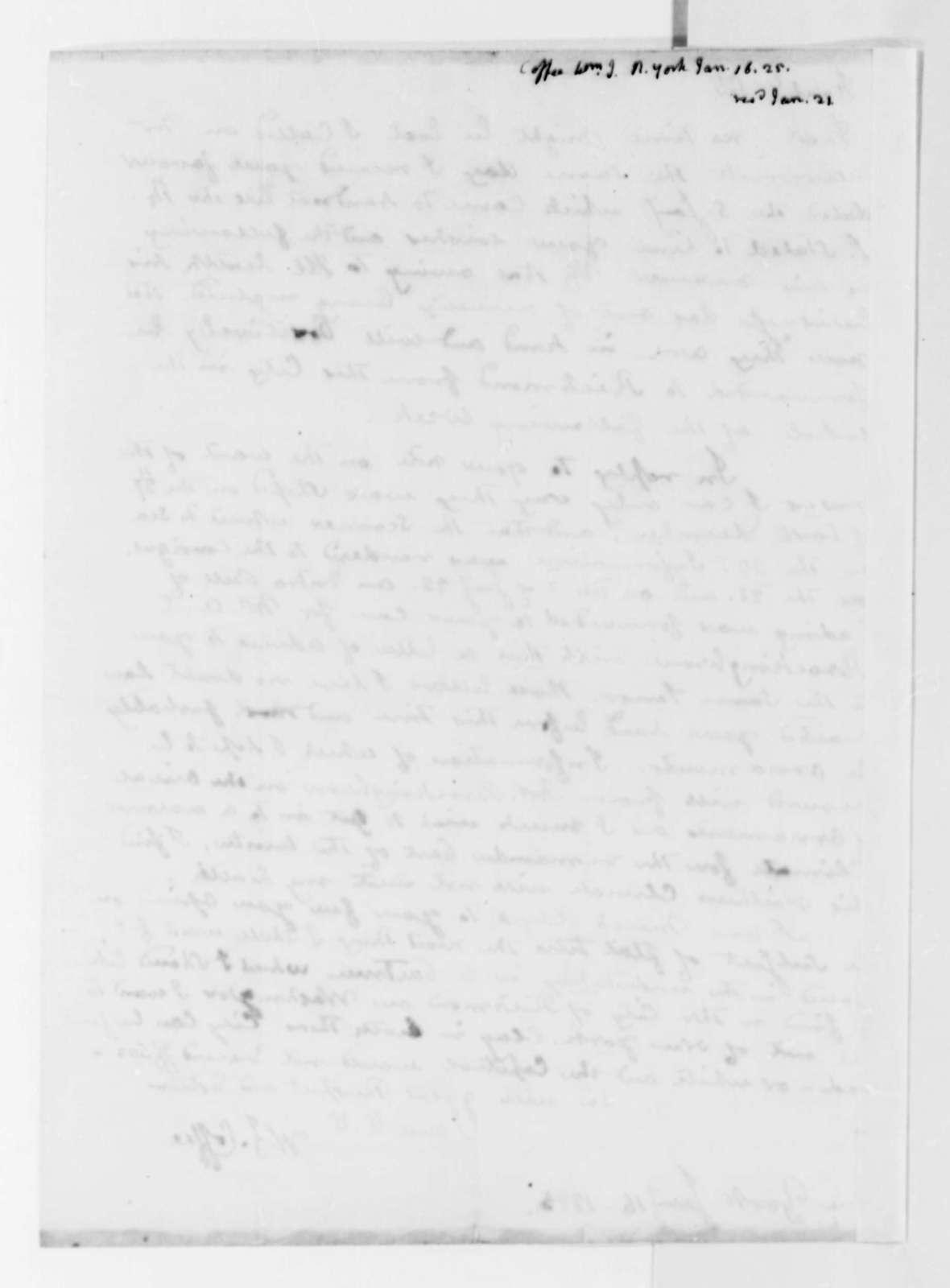 William J. Coffee to Thomas Jefferson, January 16, 1825