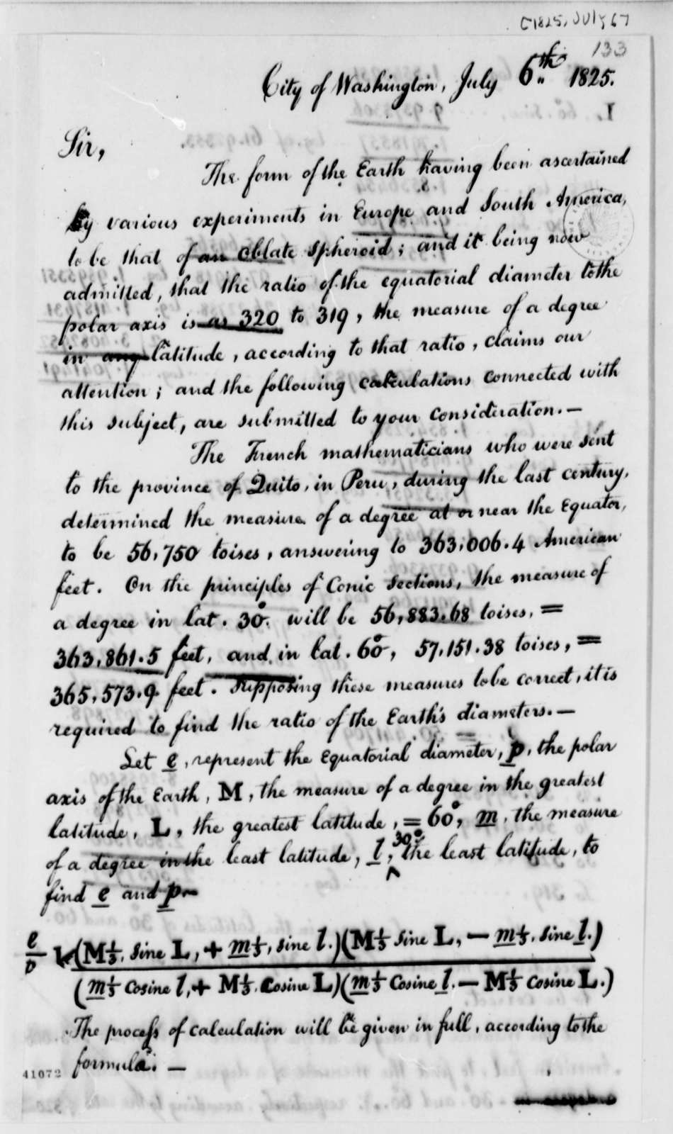 William Lambert to Thomas Jefferson, July 6, 1825