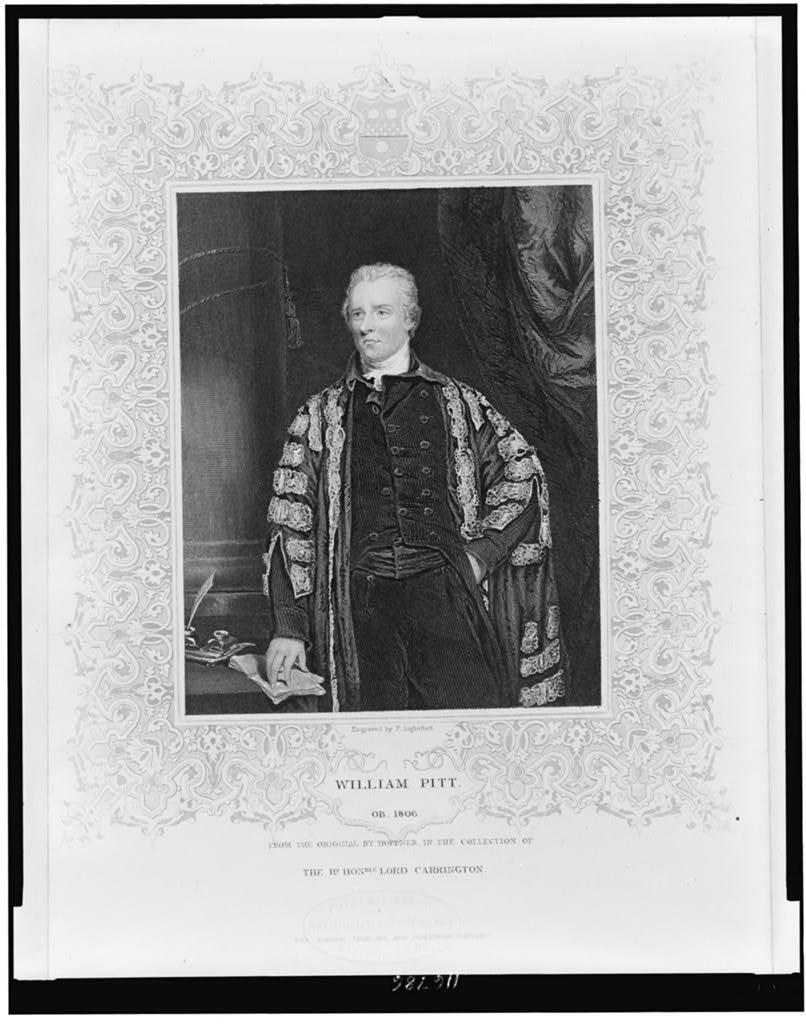 William Pitt from the original by Hoppner in the collection of The Rt Hon'ble Lord Carrington / engraved by P. Lightfoot.