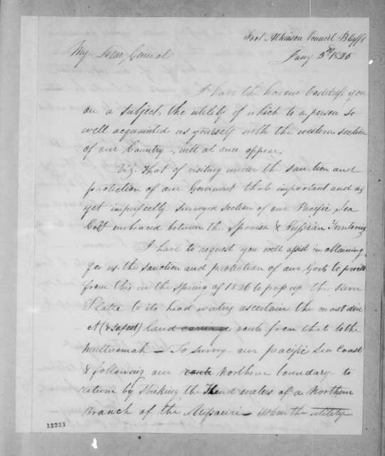 William Selby Harney to Andrew Jackson, January 3, 1825