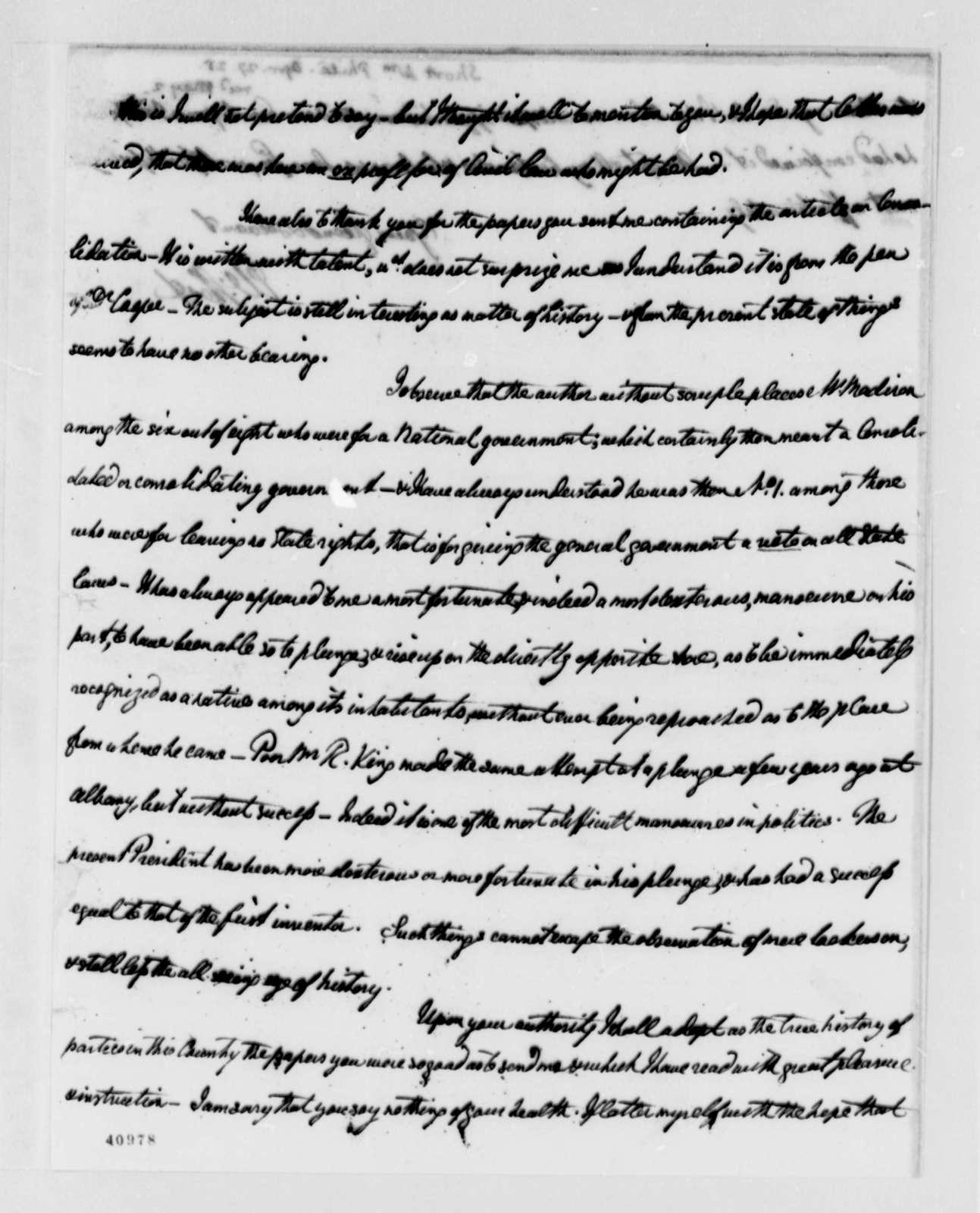 William Short to Thomas Jefferson, April 27, 1825