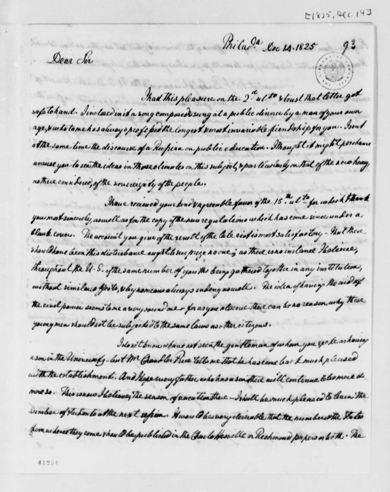 William Short to Thomas Jefferson, December 14, 1825