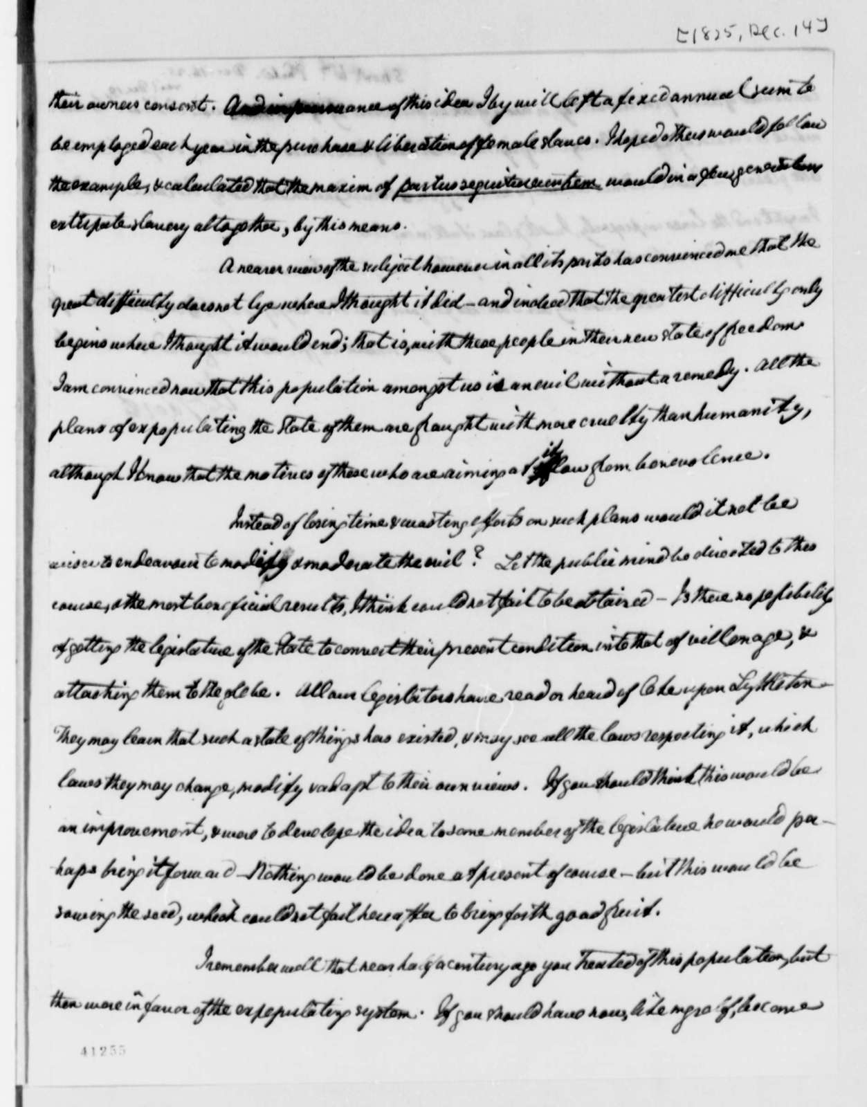 William Short to Thomas Jefferson, December 14, 1825
