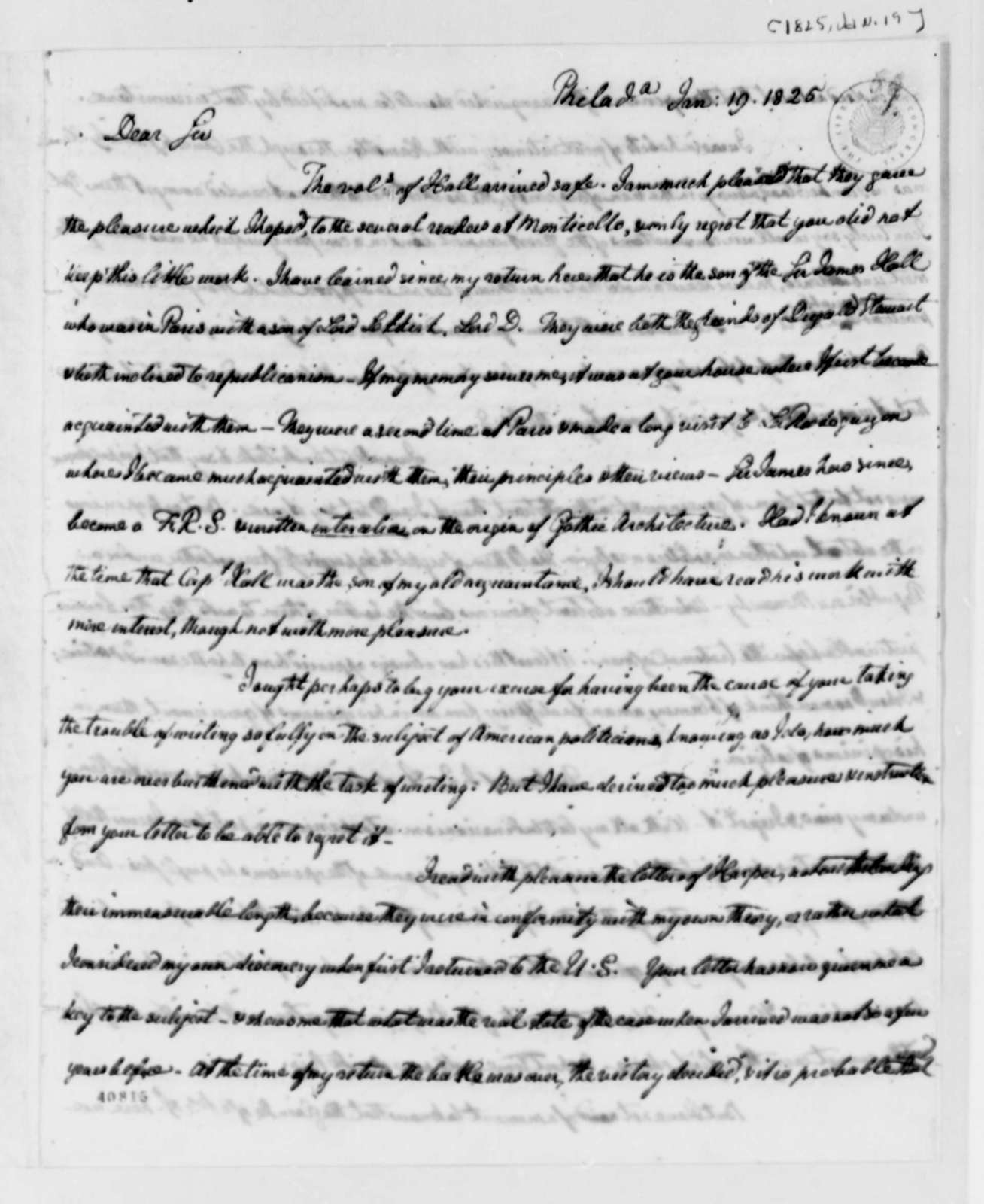 William Short to Thomas Jefferson, January 19, 1825