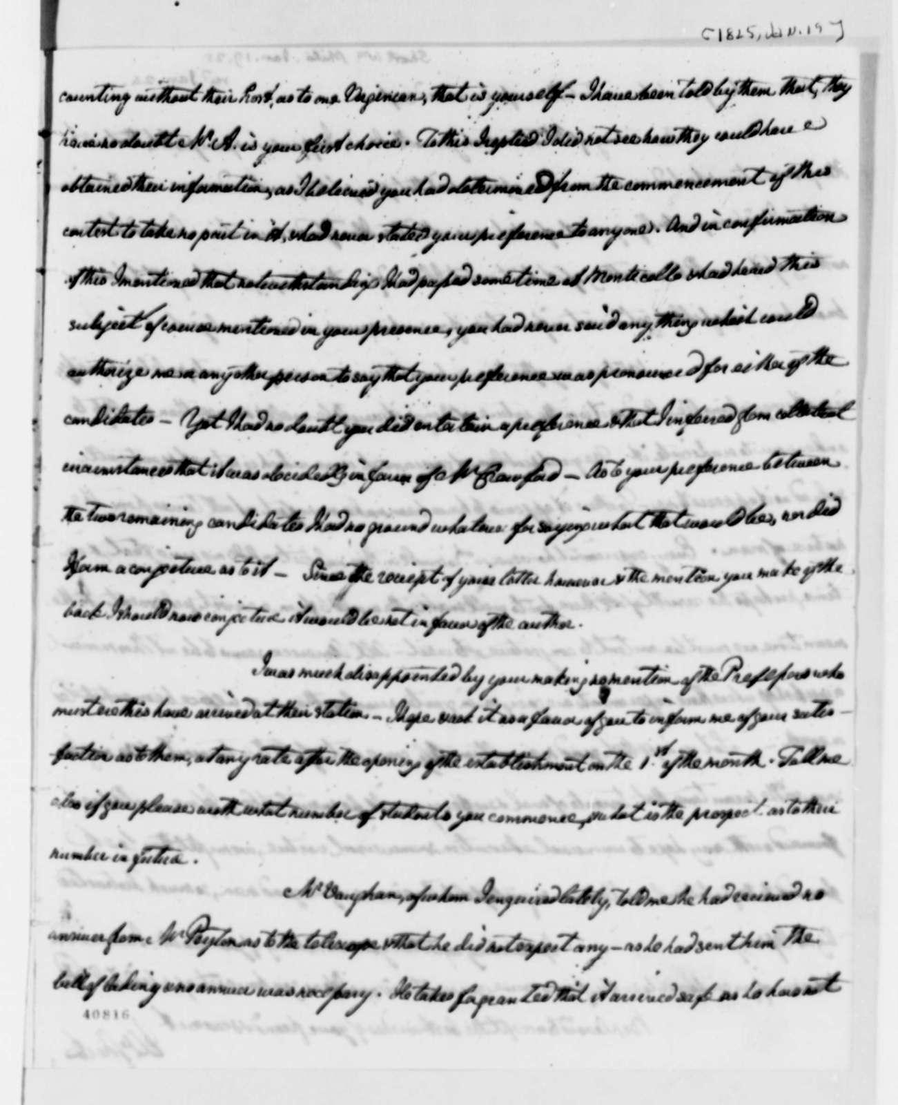 William Short to Thomas Jefferson, January 19, 1825